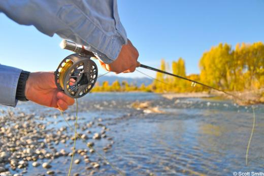 rod and reel on the Snake river